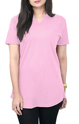 Cotton T-Shirt for Women: 100% Cotton Tee Shirt, V-Neck Top, Plain T-Shirt, Breathable, Soft and Comfortable T Shirt for Women, Casual Style Top, Plain Tee by HAK (Cotton Candy Pink, Small)