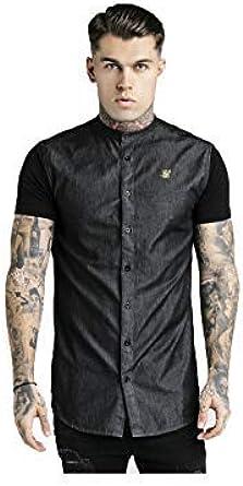 Siksilk Hombre Manga Corta Cuello Mao Camisa Denim Negro: Amazon.es: Ropa y accesorios