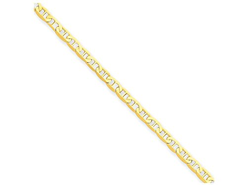10 Inch 14k Yellow Gold Polished 2mm Anchor Link Anklet