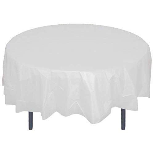 12 Pack Plastic Table Cloths for Party 84 inch Premium Round Table Cover Tablecloth Disposable Table Protector Cover for Party Wedding and Banquet -White