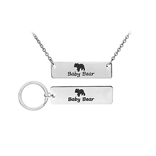 Meiligo Fashion Mothers Gift Love Heart Baby Bear Puzzle Dog Tag Necklace Jewlery Striped Pendant Matching Engraved Bar Key Chain Set