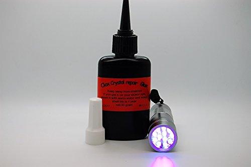 50 Gram UV Resin, Glue for Repairing Crystal, Glass, Watches, Glasses, Furniture + 12 LED UV Torch (Crsls)