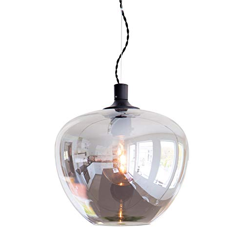 Lampara Colgante E27 Globe LED, Salon Diametro 28cm, Lampara Comedor Vidrio Ahumado, Lampara de Salon Cable Textil, Wohnraumbeleuchtung 230V