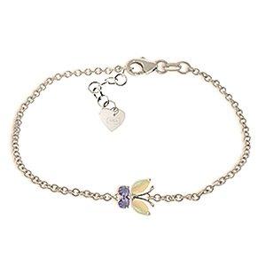 QP bijoutier Tanzanite naturelle & Opal Bracelet en or blanc 9 carats, 0.60ct coupe Marquise - 5028W