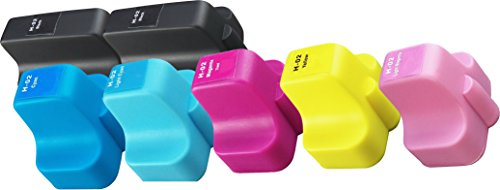 Cyan Compatible Cartridge Ink 02 (Sherman Inks and Toner Cartridges Compatible Ink Cartridge Replacement for HP 02 XL ( Black,Cyan,Magenta,Yellow , 7-Pack ))