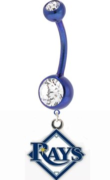 Blue Tampa Bay Devil Rays Charm Belly Button Ring (Devils Belly Button compare prices)