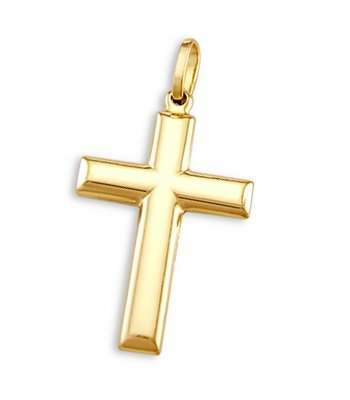 Plain Tube Cross - 14k Yellow Gold Cross Crucifix Pendant Classic Charm Plain 1.25 inch