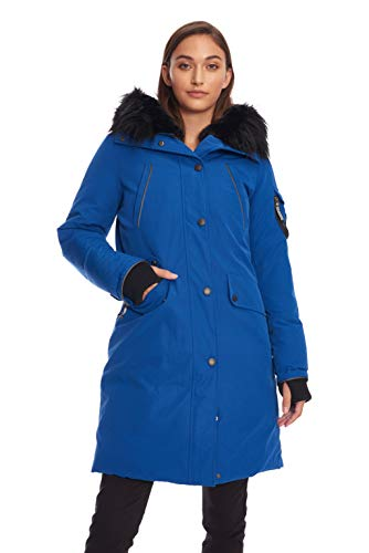 Alpine North Womens Vegan Down Long Parka Winter Jacket, Cobalt, M