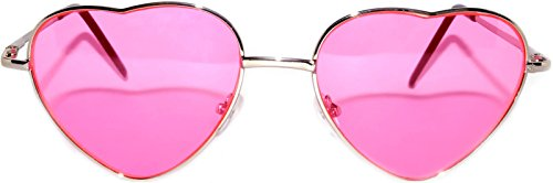 Stylish Heart Shaped Silver Metal Frame Aviator Pink Lens - Frames Shaped Aviator