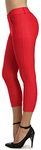 (Prolific Health Women's Jean Look Jeggings Tights Slimming Many Colors Spandex Leggings Pants S-XXXL (Small, Red Capri))