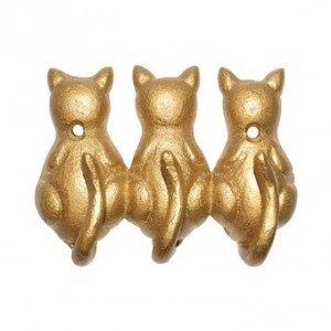 Perchero de pared 3 ganchos colgadores pequeños gatos - Trio ...