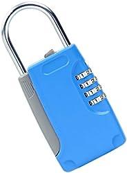Cadeado de combinação de chamas de 4 dígitos com caixa de chave – maleta, bagagem, porta, Blue