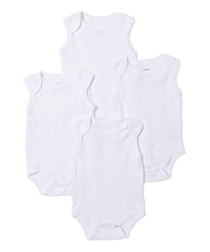 Sweet & Soft Baby 4 Pack Solid Bodysuits (White Tank, 24 Months)