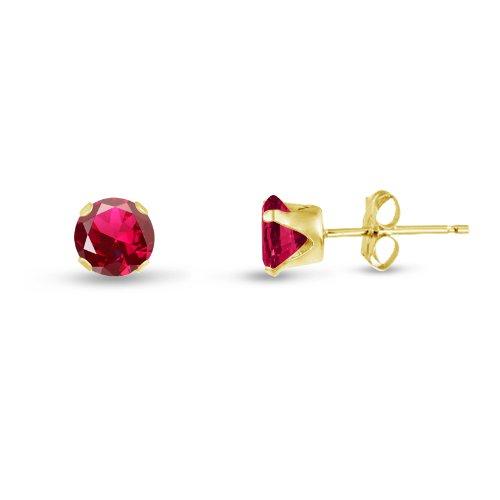 Kezef ronde 3 mm XS Lab créé Rouge rubis bébé plaqué or jaune Boucles d'oreilles en argent