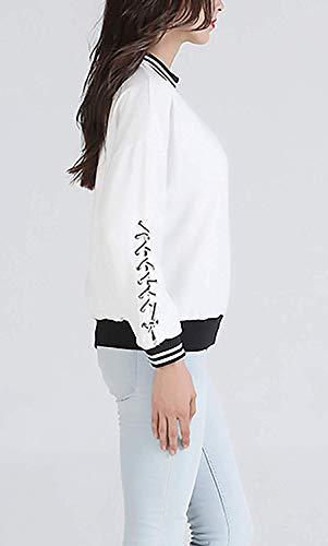 Primavera Universitario Suéter Otoño Estilo Ocio Moda Tops Pullover Larga Deporte Para Cuello Elegante Manga Mujer White Camiseta Qinch Especiales Corto Redondo Sudaderas pSxdwqOII