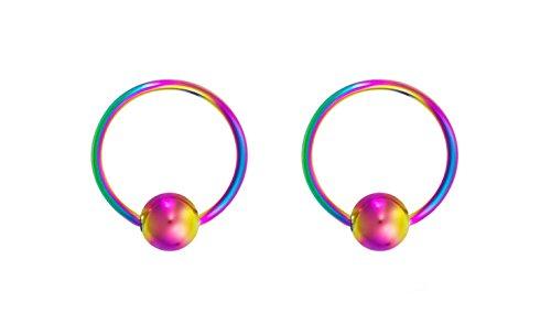 (Forbidden Body Jewelry 18g 8mm Rainbow Surgical Steel Captive Bead Body Piercing Hoops (2pcs) )