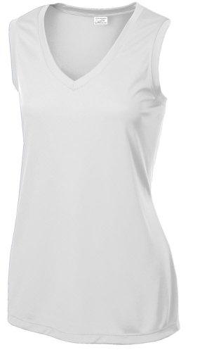 Joe's USA Ladies Sleeveless Athletic Tee Shirt. Sizes XS-4XL White