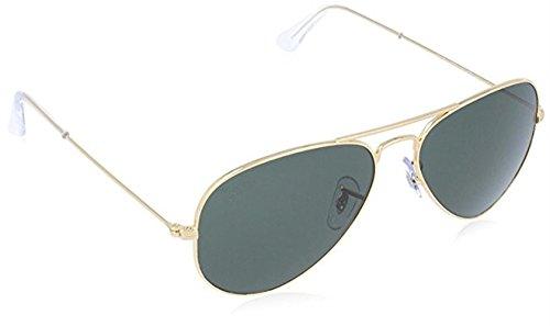 Ray 3025 Aviator Large Metal Non-Mirrored Non-Polarized Sunglasses, Gold/Green (L0205), - Ray Sunglasses X
