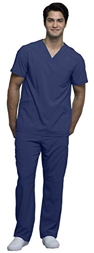 Cherokee CK900A & CK200A Infinity Men's Scrub Set - V-Neck Top & Fly Front Pant, Navy, M-M