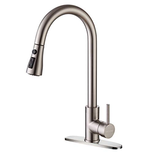 Moone Commercial Single Handle Kitchen Faucet Pull Down Sprayer Brass Body Pull Out Spray Kitchen Sink Faucets Stainless Steel Brushed Nickel by Moone (Image #10)