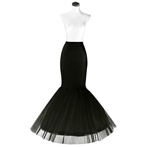 Mermaid Petticoat for Mermaid Prom Gown Crinoline Slips Underskirt for Mermaid Wedding Dress(Small-Black)