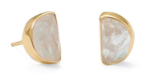 14K Gold Plated Sterling Silver Half Moon 6x10mm Rainbow Moonstone Post Stud Earrings
