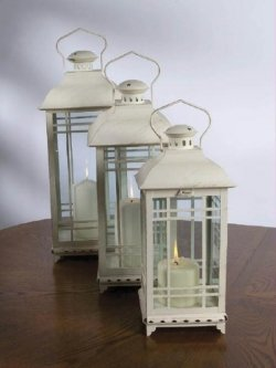 (Set of 3 Off-White Almond Multi-Sized Mission-Style Pillar Candle Lanterns)