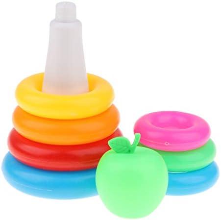 DYNWAVE 子供の赤ちゃんの感覚訓練のための2xプラスチックスタッキングリングキットバス玩具