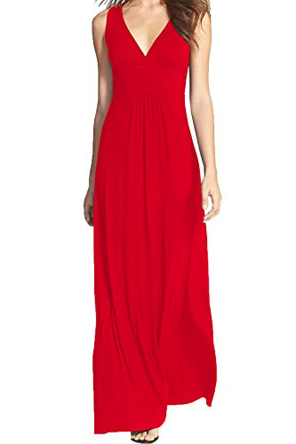 WOOSEA Women Sleeveless Deep V Neck Loose Plain Long Maxi Casual Dress (Red, Large)