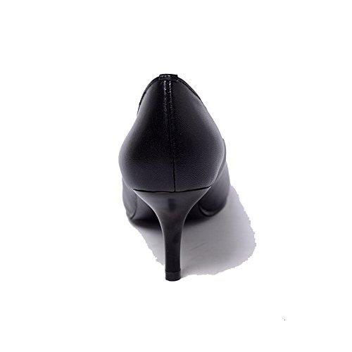 AllhqFashion Mujer Piel de Oveja Slip-on Tacón Medio Puntera en Punta ZapatosdeTacón Negro