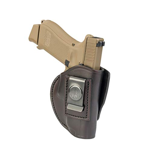 - 1791 GUNLEATHER 4-Way Glock 19 Holster - OWB and IWB CCW Holster - Right Handed Leather Gun Holster - Fits G19, Beretta 92FS, Springfield XD9 & XD40, G17, 20, 21, 25, 31, 32, 38 (Signature Brown)
