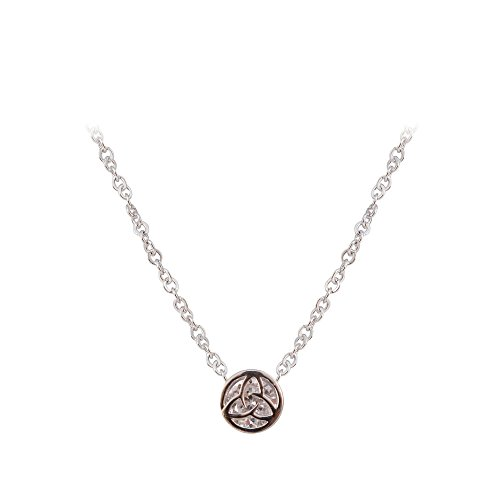 Silver Plated Round Pendant With Trinity Knot Shaped Cubic Zirconia Crystal (Cubic Zirconia Trinity Pendant)