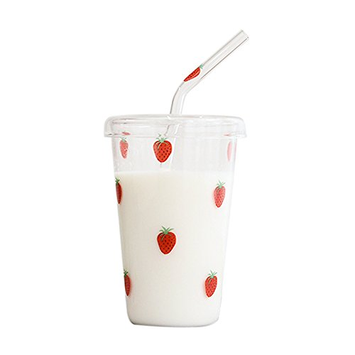 (Creative Cute Cartoon Transparent Glass Strawberry Pattern Durable Porcelain Ceramic Coffee Tea Milk Water Ice Beer Cola Cup Mug Tumbler with Cover & Straw for Kids Girlfriend Home Office Decor)