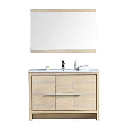 "Blossom Milan 48"" Inches Single Bathroom Vanity, MDF, Ceramic Sink with Mirror Biccole Oak 014 48 20 SBM"