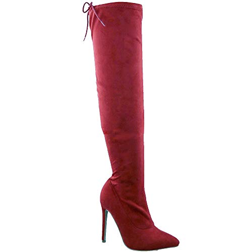 TRENDSup Collection Women Pointy Toe Thigh High Single Sole Stiletto Boot (8 M US, Wine Suede) ()