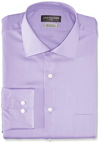 Van Heusen Men's Flex Collar Regular Fit Solid Spread Collar Dress Shirt, Dahlia Purple, 18.5