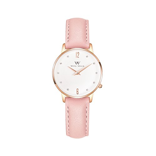 Gold Genuine Swiss (Welly Merck Women Fighter Lisbon Swiss Quartz Movement Rose Gold 26mm Watch 12mm Pink Italy Genuine Leather Interchangeable Strap Band 50M Water Resistant)