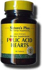 Natures Plus Folic Acid Hearts (Methylfolate) - 400 mcg, 90 Vegetarian Tablets - Vitamin B6, Vitamin B9, and Vitamin B12 Supplement, Energy Booster, Prenatal Vitamin - Gluten Free - 90 Servings