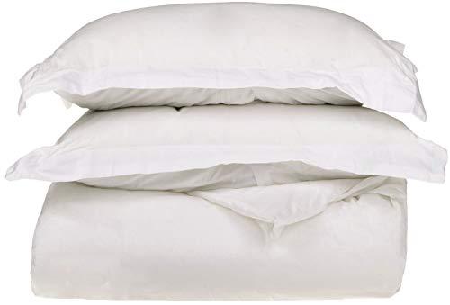 Superior 100% Premium Combed Cotton, 300 Thread Count 3 Piece Duvet Cover Set 2 Pillow Shams, Single Ply Cotton, Soft Luxurious Bedding Sets - Full/Queen Duvet Cover, White ()
