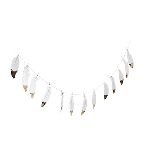 Dovewill Bohemian Style Gold / Silver Dipped Feather Bunting Tassel Garland Nursery Girls Kids Room Décor - 2, as described -