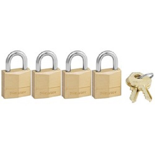 Master Lock 120Q Solid Brass Padlock, 3/4-Inch Wide Body, 5/32-Inch Shackle Diameter, 2-Keys Included, 4-Pack Keyed Alike