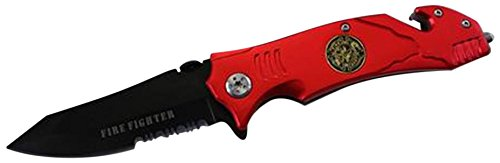 Military Knives YC-47051-FF 4.5'' Fire Fighter (Red) Metal Handle Spring Assisted Folding Knife with Seat-Belt Cutter & Glass Breaker