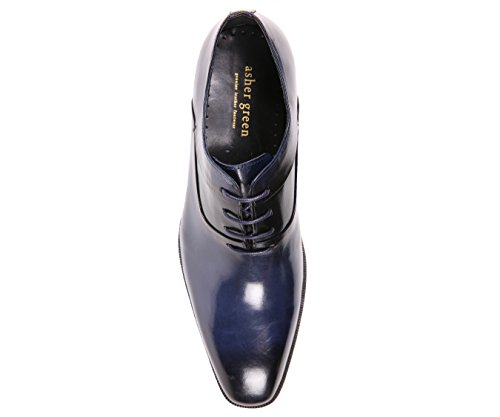 Asher Green Mens Genuine Leather Cap Toe Lace Up Oxford Dress Shoe With Wood-Like Sole, Style AG609 Navy