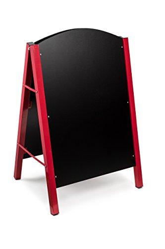 Alpine Industries Steel Double Sided Standing Menu Board - Chalkboard Sign - Sandwich Memo Board - Chalk Included (Red)