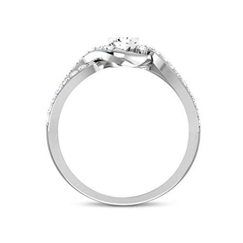 Or blanc 14K, 0,5carat Diamant Taille ronde (IJ   SI) en diamant