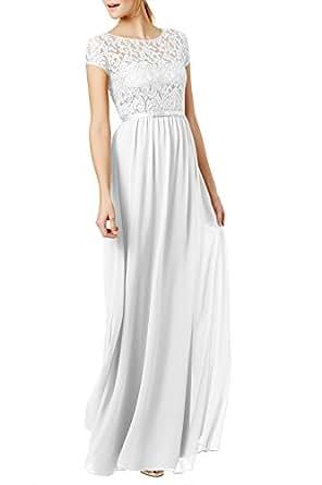 REPHYLLIS Women's Lace Cap Sleeve Evening Party Maxi Wedding Dress(S,White)