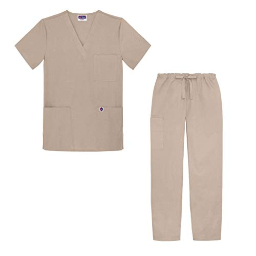 Sivvan Unisex Classic Scrub Set V-neck Top / Drawstring Pants (Available in 12 Solid Colors) - S8400 - Khaki - S