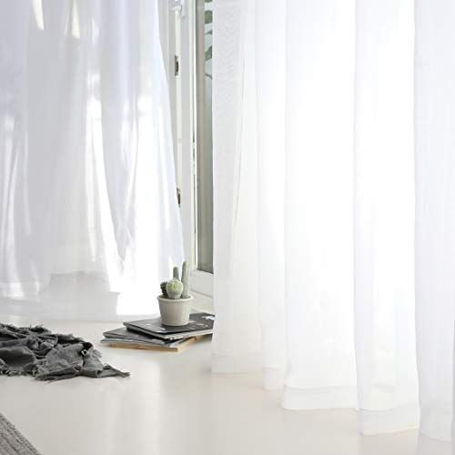HOME BRILLIANT Sheer Curtains White Short Voile Window Curtains for Kitcken Window Treatment, Set of 2, 54 x 45 Inch