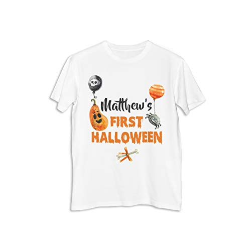 Personalized First Halloween Pumpkin Baloon Tee Shirt Happy Halloween Party Printed Shirt, Custom T-Shirt, Birthday Party, Printed Cotton Shirt, Durable Personalized Shirt, Party Shirt Supply ()