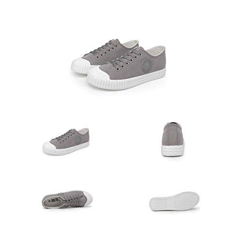 Suede Lace-up Schuhe flache Schuhe Student Casual Board Schuhe Breathable Fashion Skateboard Schuhe Komfortable Sportschuhe Outdoor Running Schuhe ( Farbe : Grau , größe : 37 ) Grau